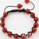 Wholesale 8mm Carnelian Woven Beaded Drawstring Bracelet with Adjustable Thread