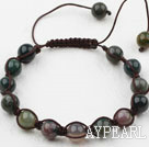 8mm Indian Agate Weaved Beaded Drawstring Bracelet with Adjustable Thread