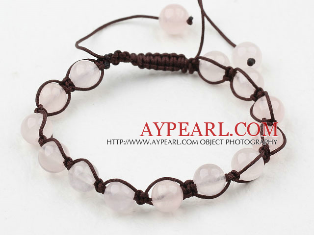 8mm Rose Quartz Woven Drawstring Bracelet with Adjustable Thread