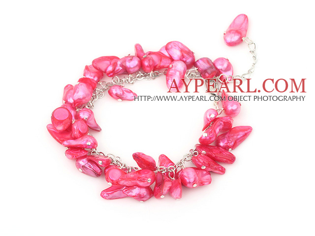 dyed red pearl bracelet with lobster clasp