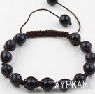 8mm Bluesand Stone Weaved Beaded Drawstring Bracelet with Adjustable Thread
