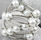 White Shell Beads Wrap Bangle Bracelet