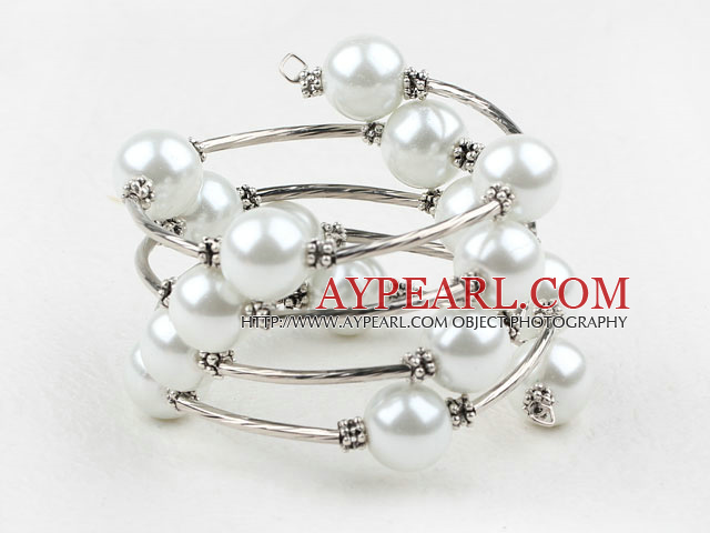 Fashion 12Mm White Shell Beads Wired Wrap Bangle Bracelet