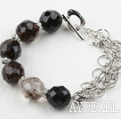 Wholesale New Design Black Cherry Quartz Bracelet with Metal Chain and Heart Shape Toggle Clasp