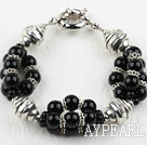 New Design Black Agate Bracelet with Moonlight Clasp