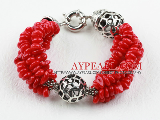 New Design Red Coral Bracelet with Moonlight Clasp