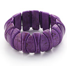 Classic Design Eye Shape Dark Purple Turquoise Stretch Bangle Bracelet