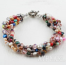 Assorted Multi Color Freshwater Pearl Bracelet with Moonlight Clasp