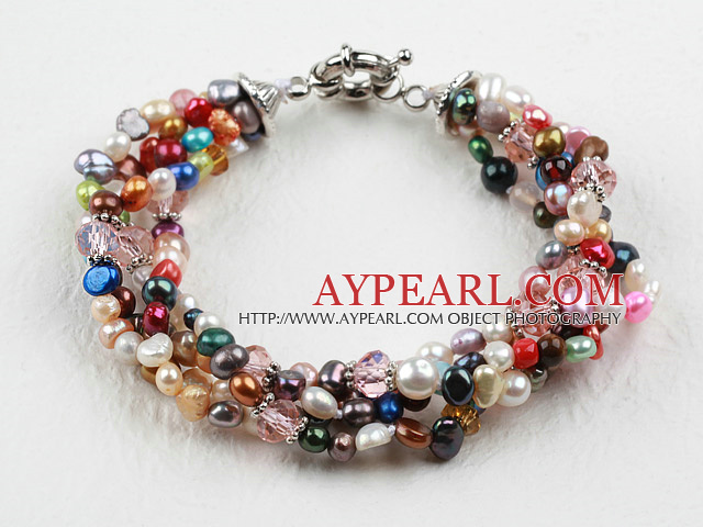 Assorted Multi Color Ferskvann Pearl armbånd med Moonlight Clasp