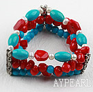 Wholesale Three Strands Assorted Red Coral and Turquoise Bangle Bracelet