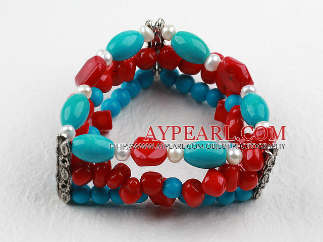 Three Strands Assorted Red Coral and Turquoise Bangle Bracelet