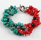 Turquoise and Red Coral Bracelet with Lobster Clasp