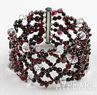 Nytt Design Garnet og Clear Crystal veva Bangle Bracelet med Slide Clasp