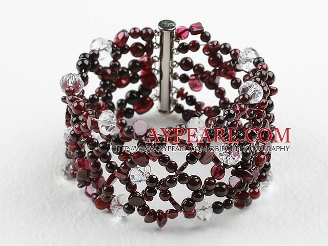 New Design Garnet and Clear Crystal Woven Bangle Bracelet with Slide Clasp