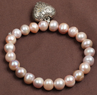 Simple Elegant Style Natural Pink Freshwater Pearl Elastic/ Stretch Bracelet With Tibet Silver Heart Charm