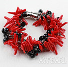 Wholesale New Design Red Coral Branch and Black Crystal Bracelet with Magnetic Clasp