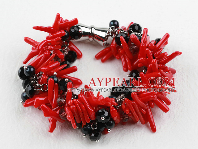 New Design Red Coral Branch and Black Crystal Bracelet with Magnetic Clasp