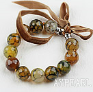 Nice 14Mm Faceted Fire Agate Beaded Bangle Bracelet With Brown Ribbons