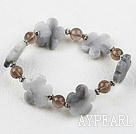 Wholesale Smoky Quartz and Gray Jade Flower Elastic Bracelet