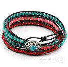 Wholesale Faceted 3-4mm Coral and Turquoise Wrap Bangle Bracelet