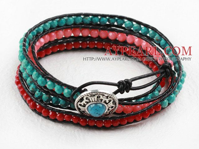 Faceted 3-4mm Coral and Turquoise Wrap Bangle Bracelet