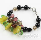 Assorted Black Agate and Smoky Quartz and Lemon Jade Bracelet