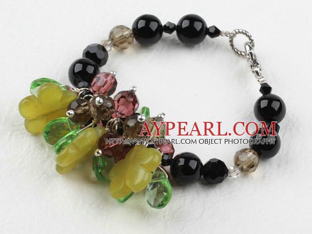 Assorted Black Agate and Smoky Quartz and Lemon Jade Bracelet
