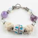 Popular Multi Amethyst Opal And Buddha Head Lucky Bracelet With Toggle Clasp
