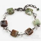Classic Design Clear Crystal and Canada Jade Bracelet with Lobster Clasp