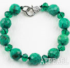 Wholesale Xinjiang Turquoise and Dark Green Crystal Bracelet with Lobster Clasp