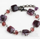 Classic Design Crystal and Purple Dargon Quartz Bracelet with Lobster Clasp