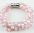 Wholesale Multi Strand Baby Pink Freshwater Pearl and Glass Beads Bracelet with Magnetic Clasp