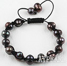 New Design Black Freshwater Pearl Weaved Shamballa Adjustable Bracelet
