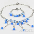 New Design Drop Shape Sea Blue Crystal Set (Necklace Bracelet and Matched Earrings)