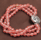 Wholesale Fashion Three Strand Cherry Quartz Beads Bracelet