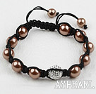 Wholesale Coffee Color Seashell Beads and Rhinestone Ball Woven Bracelet