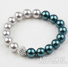 Wholesale Gray and Peacock Color Seashell Beads and Rhinstone Ball Elastic Bangle Bracelet