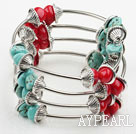 Assortert Red Coral og Turquoise Wrap Bangle Bracelet