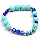 Assorted Doule Color Seashell Beads and Rhinstone Ball Elastic Bangle Bracelet