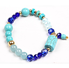 Simple Style Single Strand Cylinder Blue Turquoise Dark Blue Crystal Beads Stretch / Elastic Bracelet
