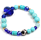 Simple Style Single Strand Blue Turquoise Hand-Painted Agate Dark Blue Heart Shape Crystal Bead Stretch / Elastic Bracelet