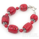 e bracelet rouge corail with toggle clasp avec fermoir