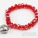Wholesale Dark Red Manmade Crystal Elastic Bangle Bracelet with Heart Shape Metal Accessories