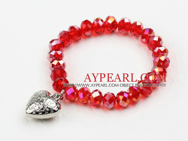 Dark Red Manmade Crystal Elastic Bangle Bracelet with Heart Shape Metal Accessories