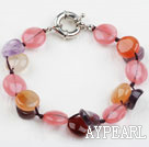 Wholesale Assorted Amethyst and Agate and Cherry Quartz Bracelet with Moonlight Clasp