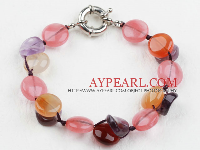 Assorted Amethyst and Agate and Cherry Quartz Bracelet with Moonlight Clasp