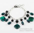 Wholesale Black Agate and Phoenix Stone Bracelet with Adjustable Metal Chain