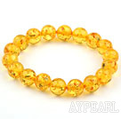 10mm gule fargen Round Immitation Amber Elastic Bangle Bracelet