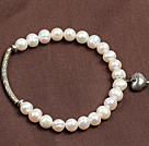 Simple Elegant Style Natural White Freshwater Pearl Elastic/ Stretch Bracelet With Tube And Heart Charm