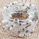 Assorted White Freshwater Pearl and Clear Crystal Wrap Bangle Bracelet